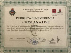 Attestato Pubblica Benemerenza a Toscana Live