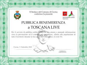 Attestato Toscana Live