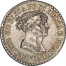 Moneta d'argento da 1 franco, di Lucca e Piombino, con i profili di Elisa e Felice Baciocchi